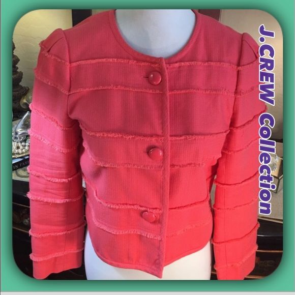 """J Crew Sophisticated Coral Cotton Cropped Jacket J Crew Fun& Flirty .. like new..Coral Jacket in soft Cotton/ Modal!  Fully lined with enameled buttons. very versatile go from office to evening I this fun little number!  Measures 21"""" Length / sleeves 23"""" of Loveliness 💟 J. Crew Jackets & Coats Blazers"""