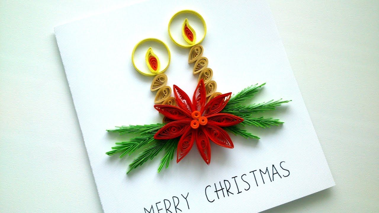 How To Make Simple Christmas Card Diy Paper Quilling Greeting Card Quilling Christmas Paper Quilling Flowers Diy Christmas Cards