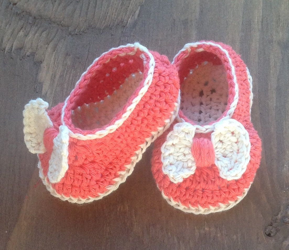 6dec8596bd5d3 Crochet Baby Shoes, Ballet Flats, Infant Crochet Shoes, Coral ...