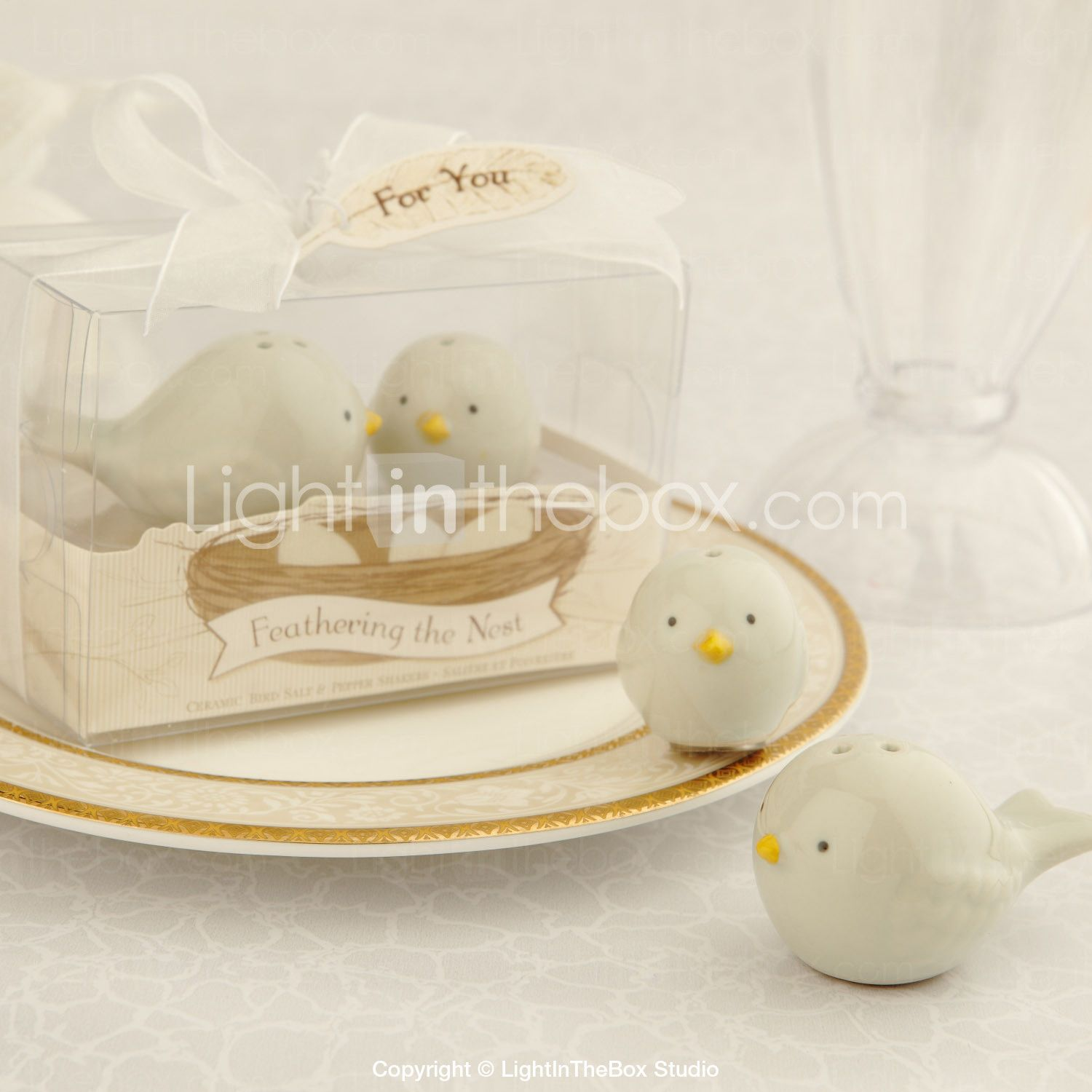 Ceramic Bird\'s Nest Salt & Pepper Shakers Wedding Favor (Set of 2 ...