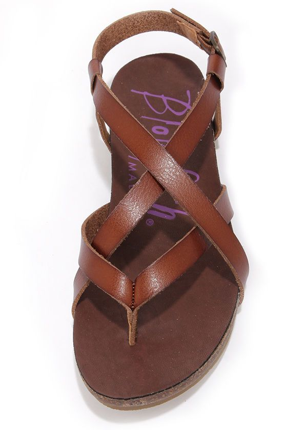 f3b09a092461c1 The Blowfish brand is so comfy! Check out these Granola Whiskey Brown  Sandals. Cute Brown Sandals - Strappy ...
