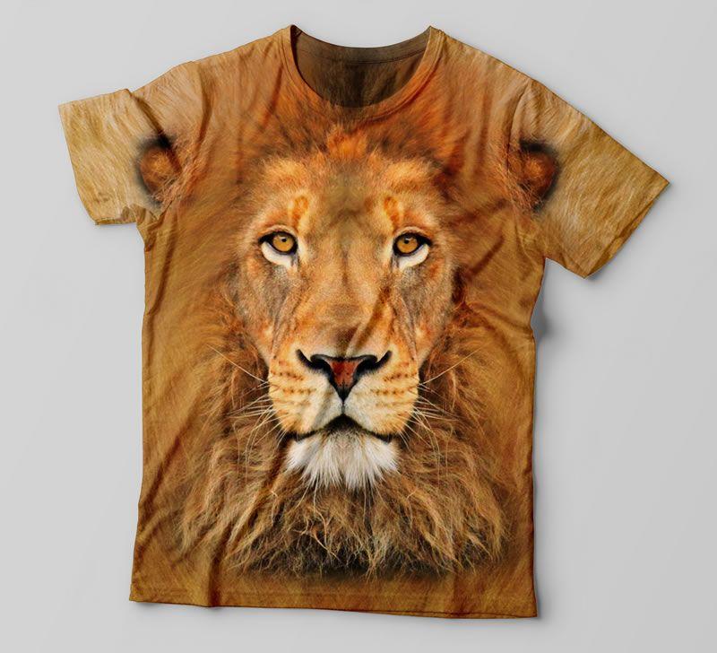 daaec7e78 Camiseta 3D com estampa total de Leão