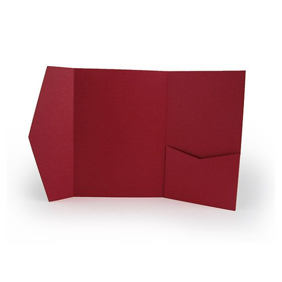 "red "" x "" pocket fold invitation holder quantity of   diy, 5x7 invitation cardstock"