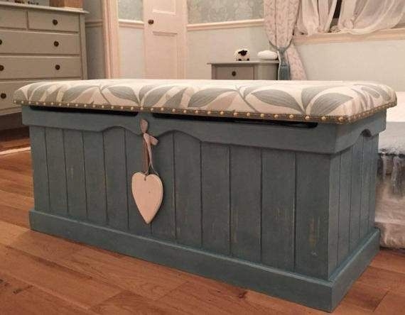 Large Painted Pine Blanket Box With Upholstered Cushioned