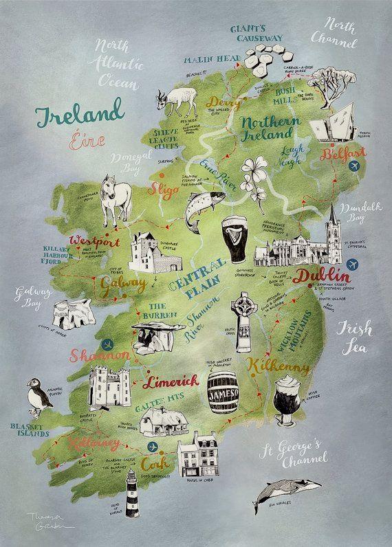 Pin By Marie Desmond On Ireland Ireland Map Ireland Road Trip