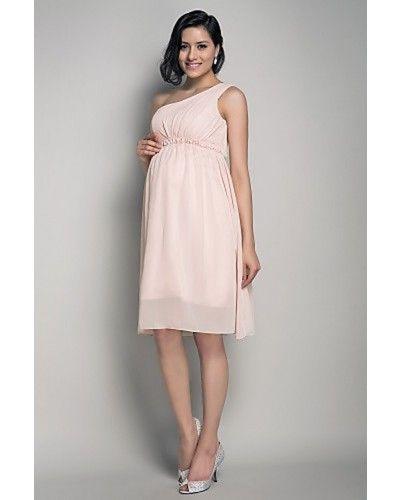 5de1d3d93fbec Pearl Pink Empire One-shoulder Chiffon Short Maternity Wedding Dress |  LynnBridal.com