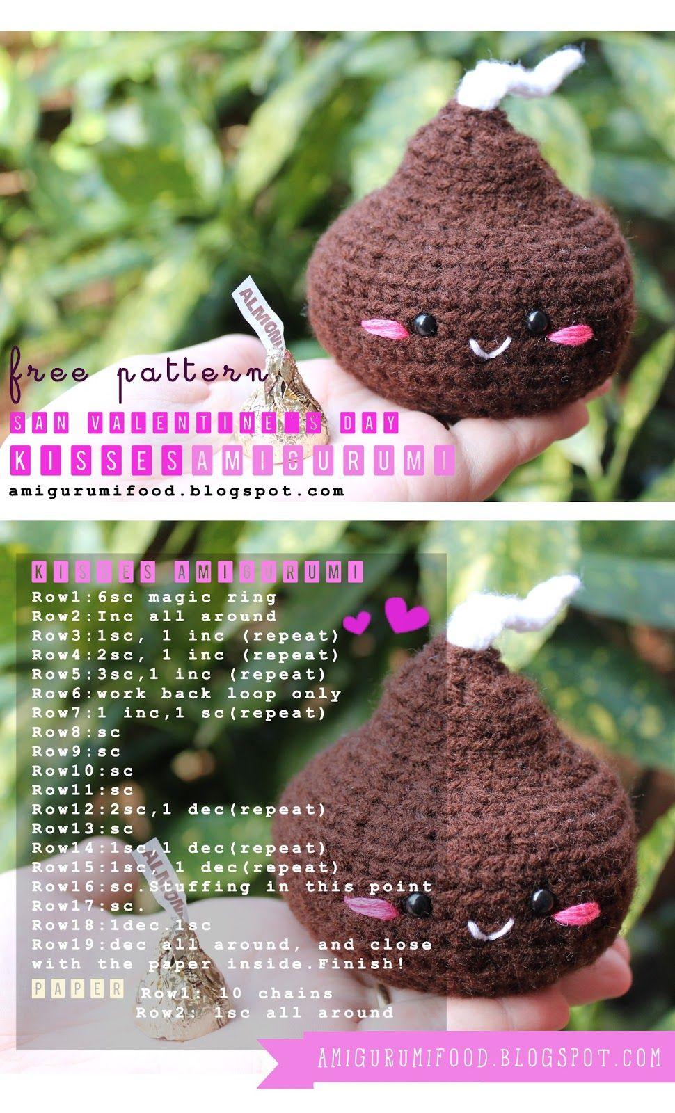 Free pattern san valentines day kisses hersheysamigurumi food free amigurumi hersheys kiss crochet pattern by amigurumi food bankloansurffo Choice Image