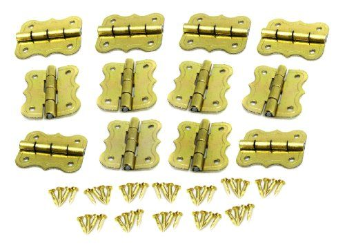 12pc. Small Butterfly-Style Brass-Plated Box Hinges
