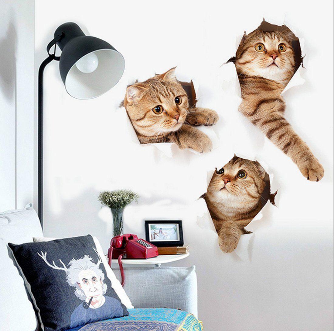 Amazon Zrse ザスイ 3匹の猫セット ウォールステッカー シール式 装飾 おしゃれ 壁紙 はがせる 剥がせる カッティングシート Wall Sticker 雑貨 ガラス 窓 Diy パーティー イベント 賃貸部屋ok アニマル柄 動物写真 かわいい 面白 ウォールステッカー