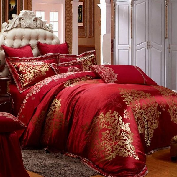 Red And Gold Bedroom Ideas Part - 27: Luxury-bedding-sets-red-gold-duvet-set-bedroom-