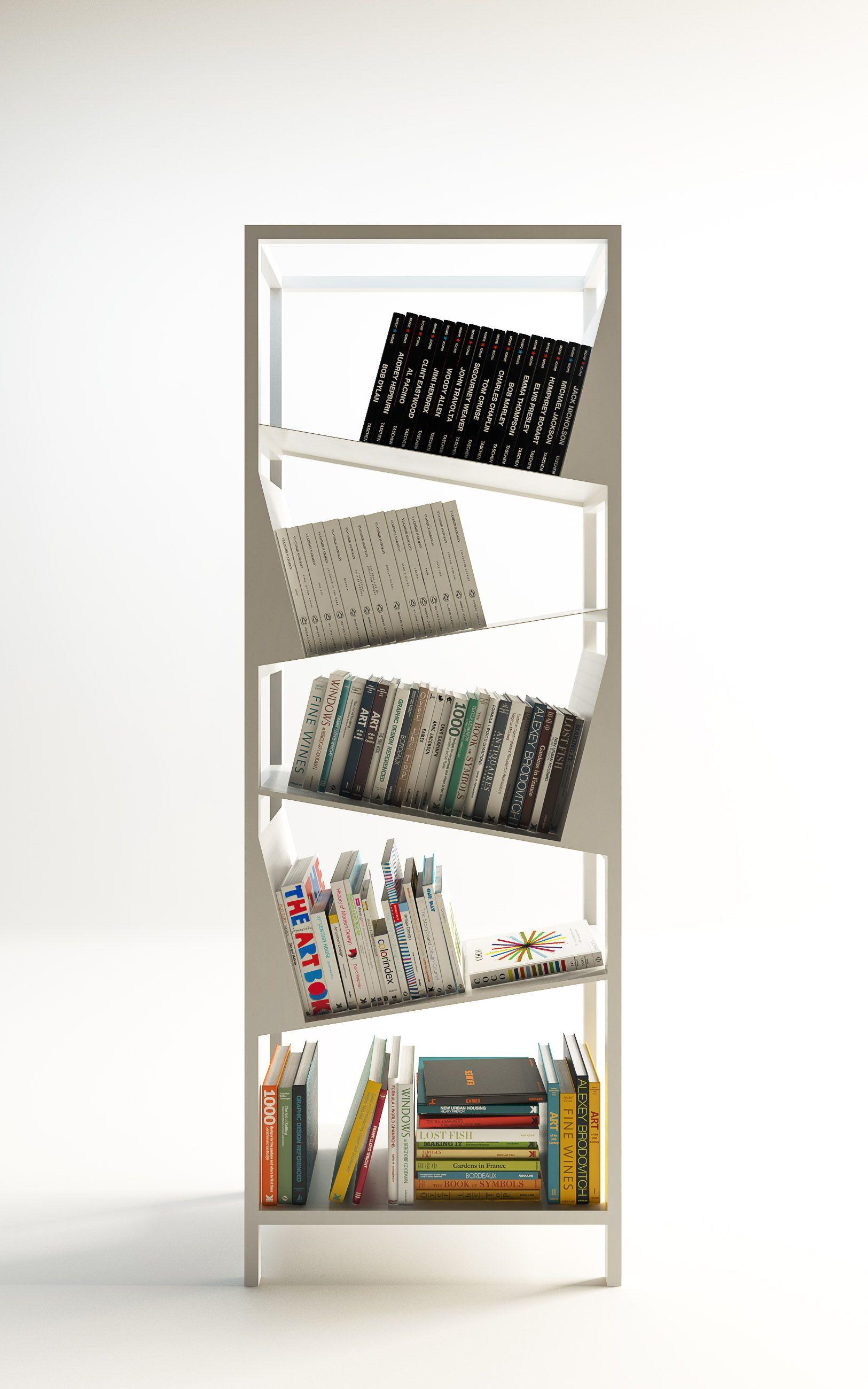 Scaffali Con Ripiani Inclinati.Libreria A Ripiani Inclinati In Metallo Bianco 85x35x230cm White