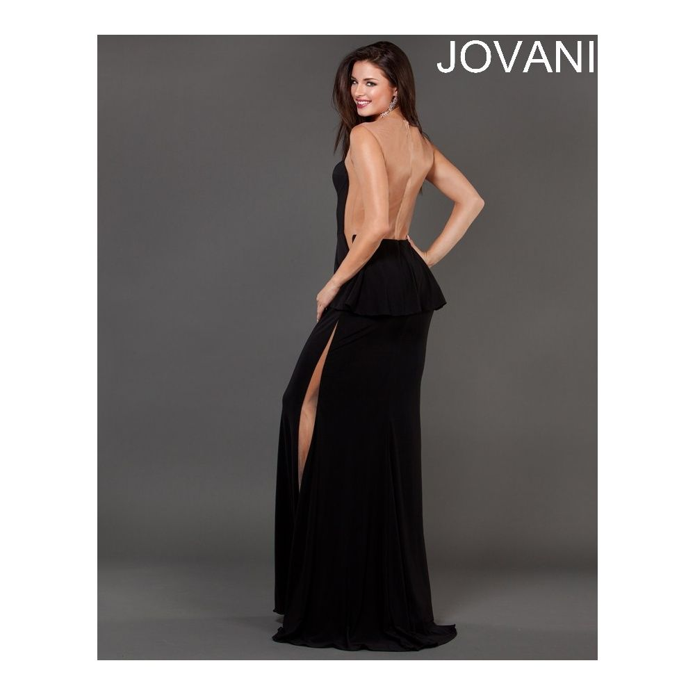 Jovani Long Black Evening Dress | Long Evening Dress with Peplum ...