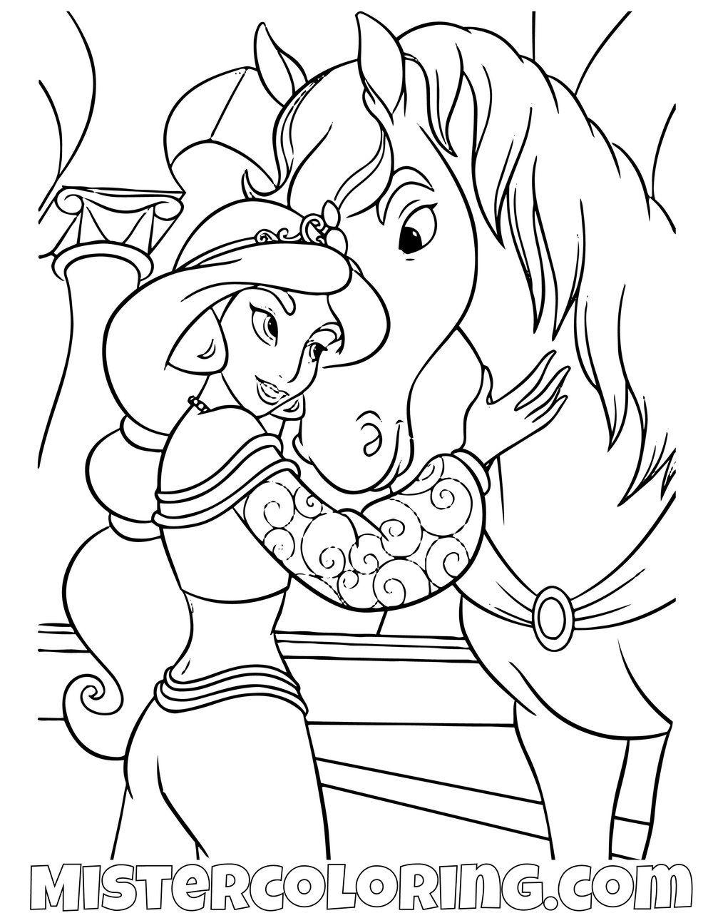 Princess Jasmine Hugging Sarah Aladdin Coloring Page Princess Coloring Pages Cartoon Coloring Pages Mermaid Coloring Pages