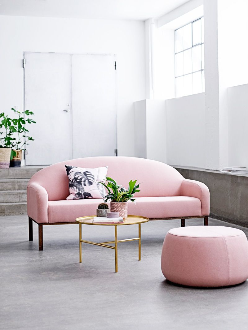 Soft Pink Sofa With Gold Coffee Table Pink Sofa Minimalist Living Room Pink Living Room