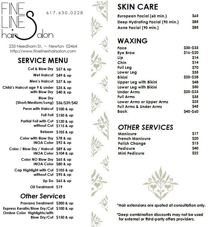 Fine Lines Hair Salon Menu  Price List  Hair    Salon