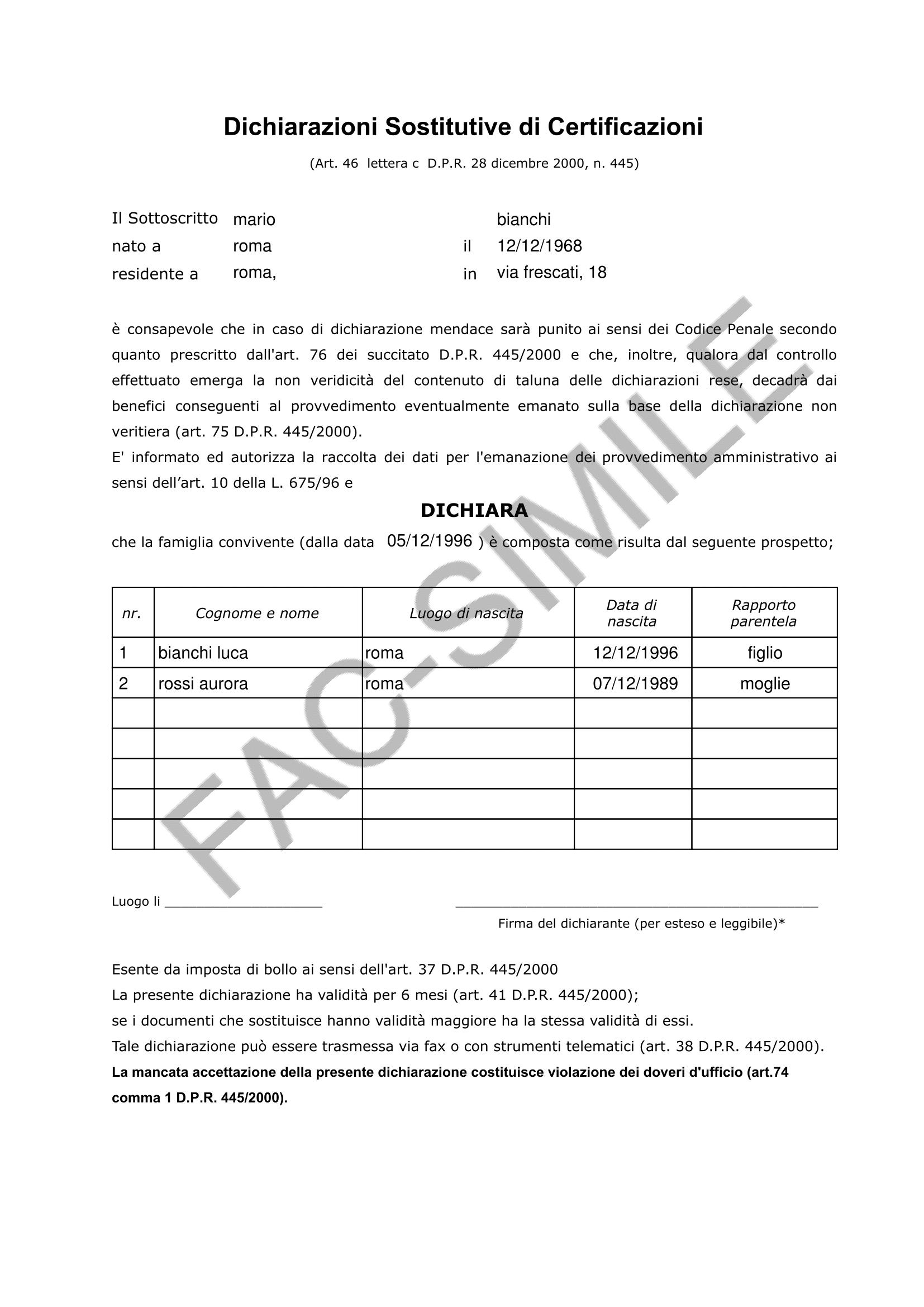AUTOCERTIFICAZIONE STATO DI FAMIGLIA - MODELLO