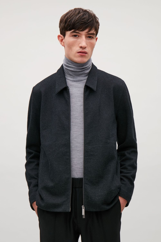 Cos Image 2 Of Lightweight Boiled Wool Jacket In Dark Grey Wear It