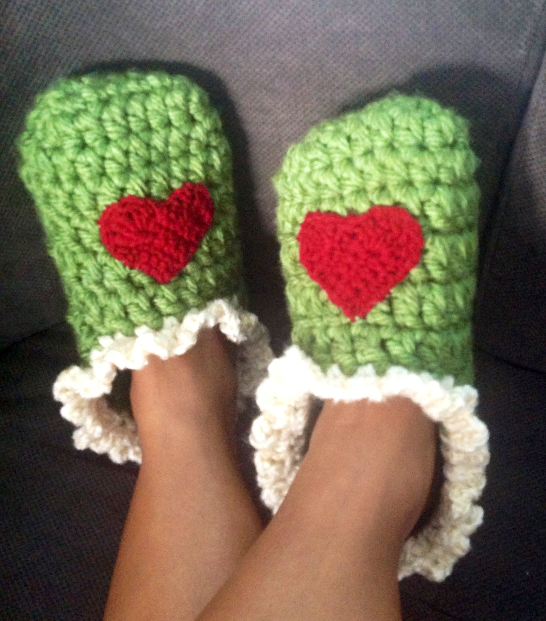 Thick comfy crochet slippers