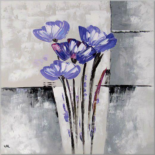 tableau abstrait fleur zeitgen ssisch peinture acrylique sur toile image art art ebay. Black Bedroom Furniture Sets. Home Design Ideas