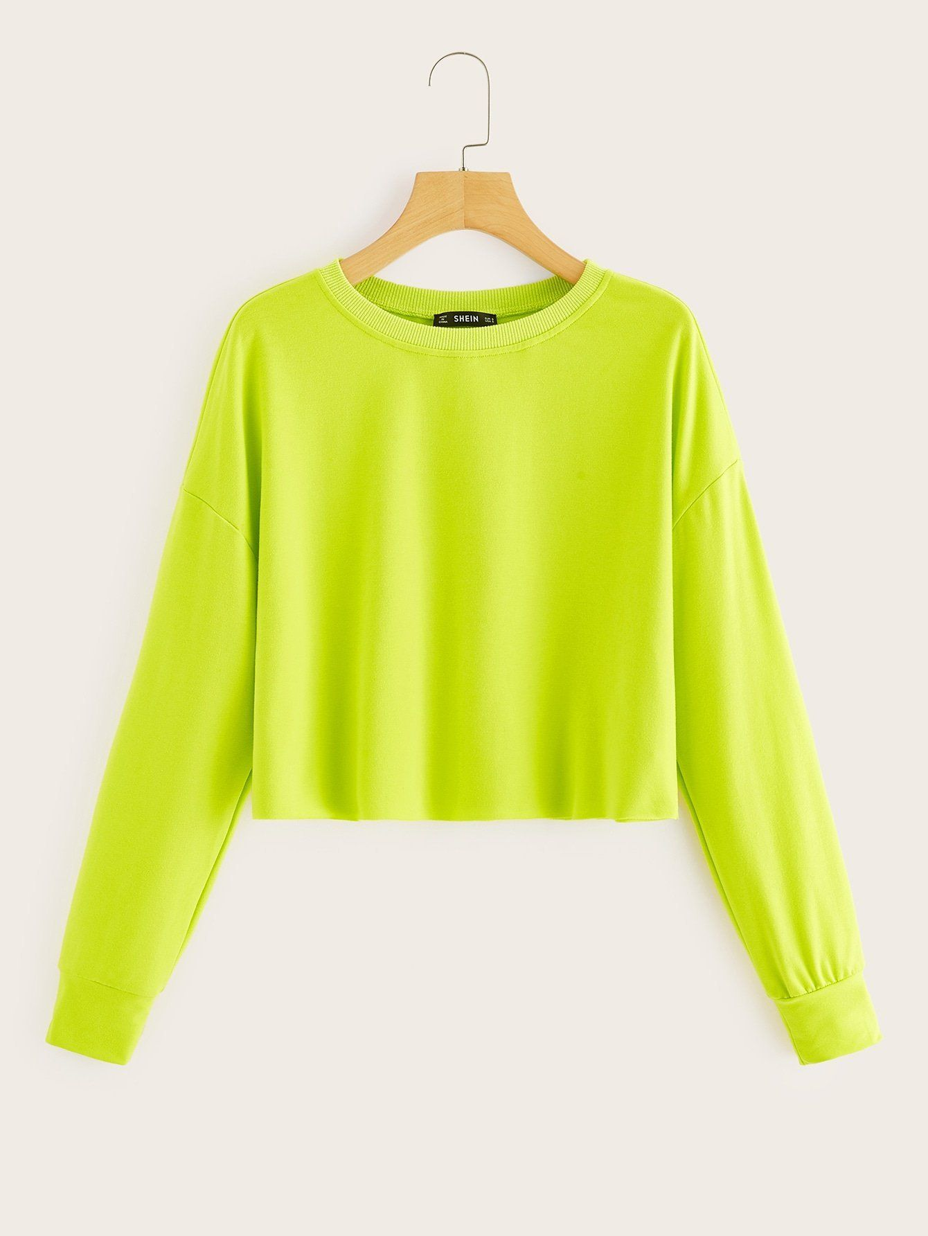 Cotton Crop Top  Loose Knit Neon Green Boat-neck Short Sweater  Other colours available