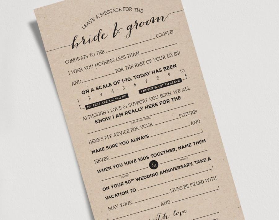 Wedding Mad Libs Printable Template Kraft Sign Bride And Groom Mr