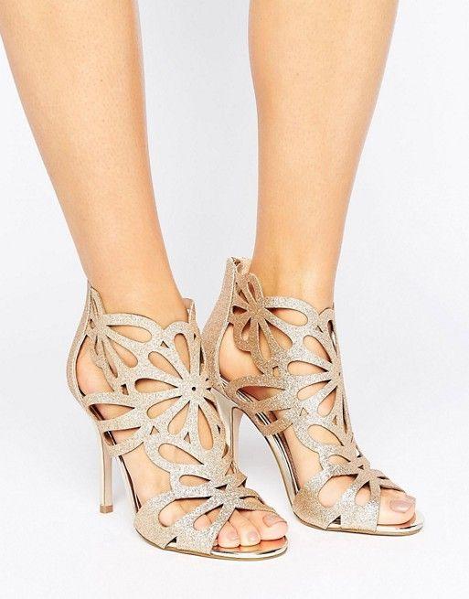 5caff9266028fd Miss KG Flutter Gold Cut Out Heeled Sandals