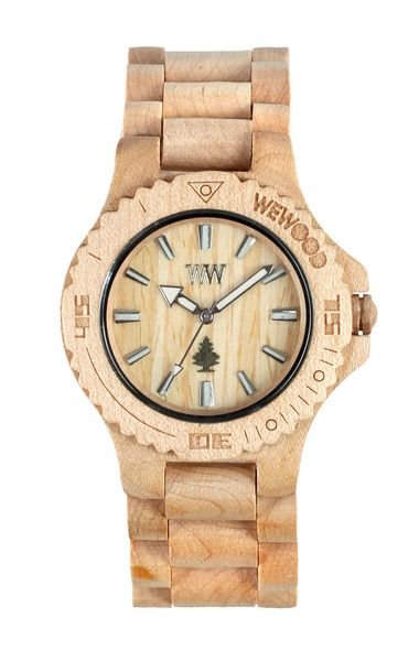 wewood watch- helps replenish forests, a tree is planted for each one purchased.