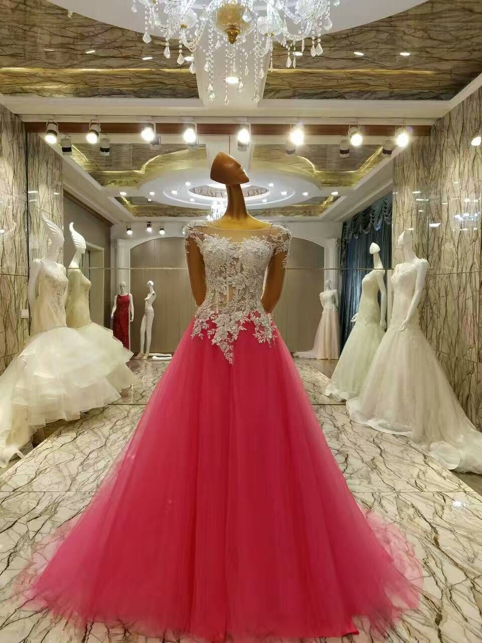 Rose red ball gown prom dresses romantic long beautiful prom