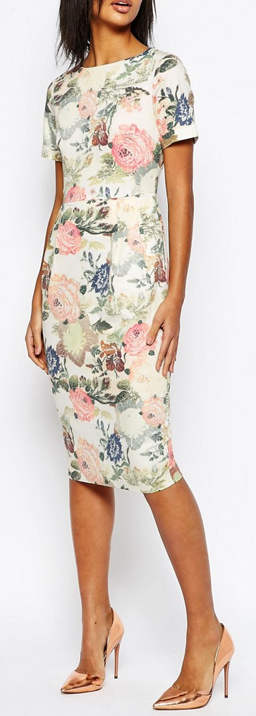 floral wiggle dress wedding guest outfits pinterest