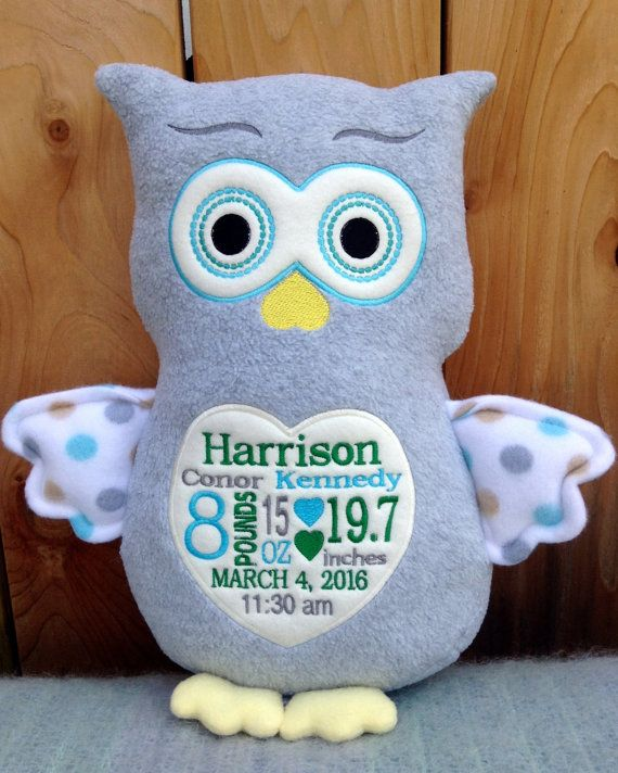 Baby gift embroidered monogrammed owl made in usa exclusively baby gift embroidered monogrammed owl made in usa exclusively offered by personalized by world class embroidery negle Choice Image