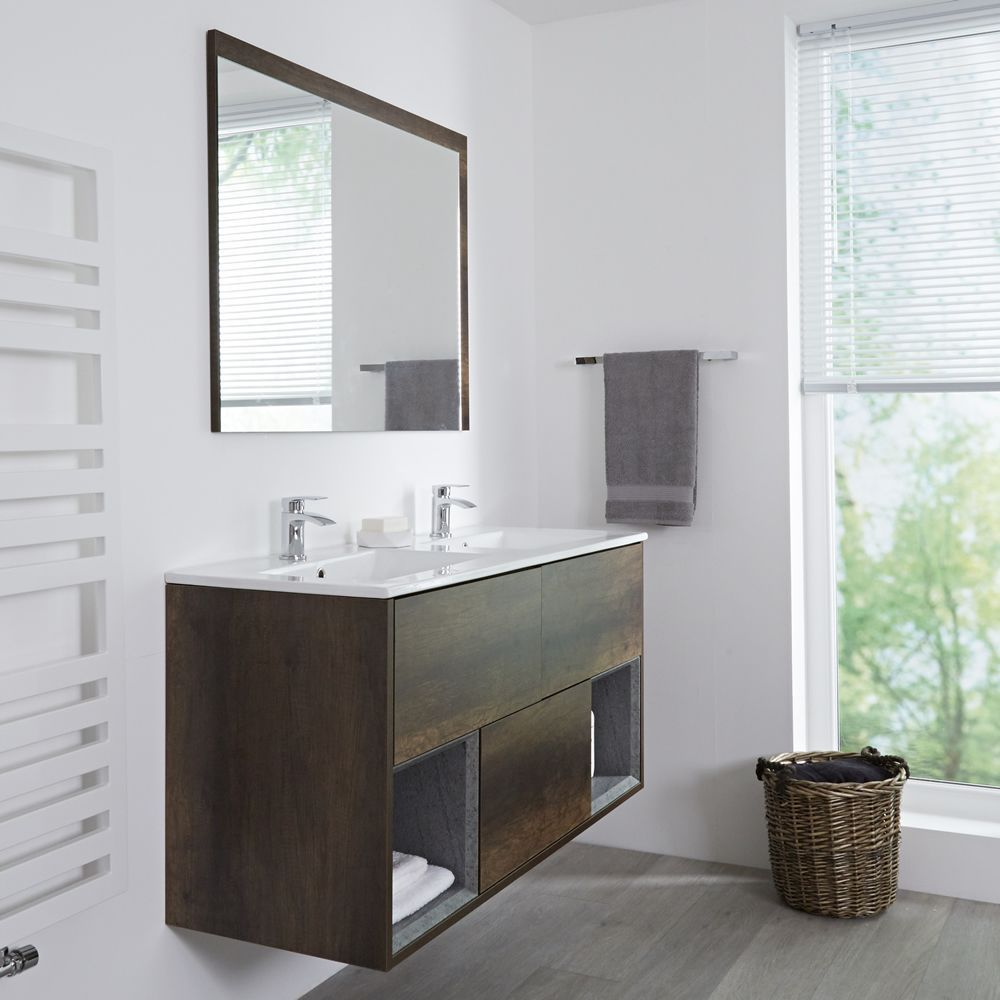 Milano Bexley Dark Oak 1200mm Wall Hung Open Shelf Vanity Unit With Double Basin Vanity Units Vanity Open Shelving