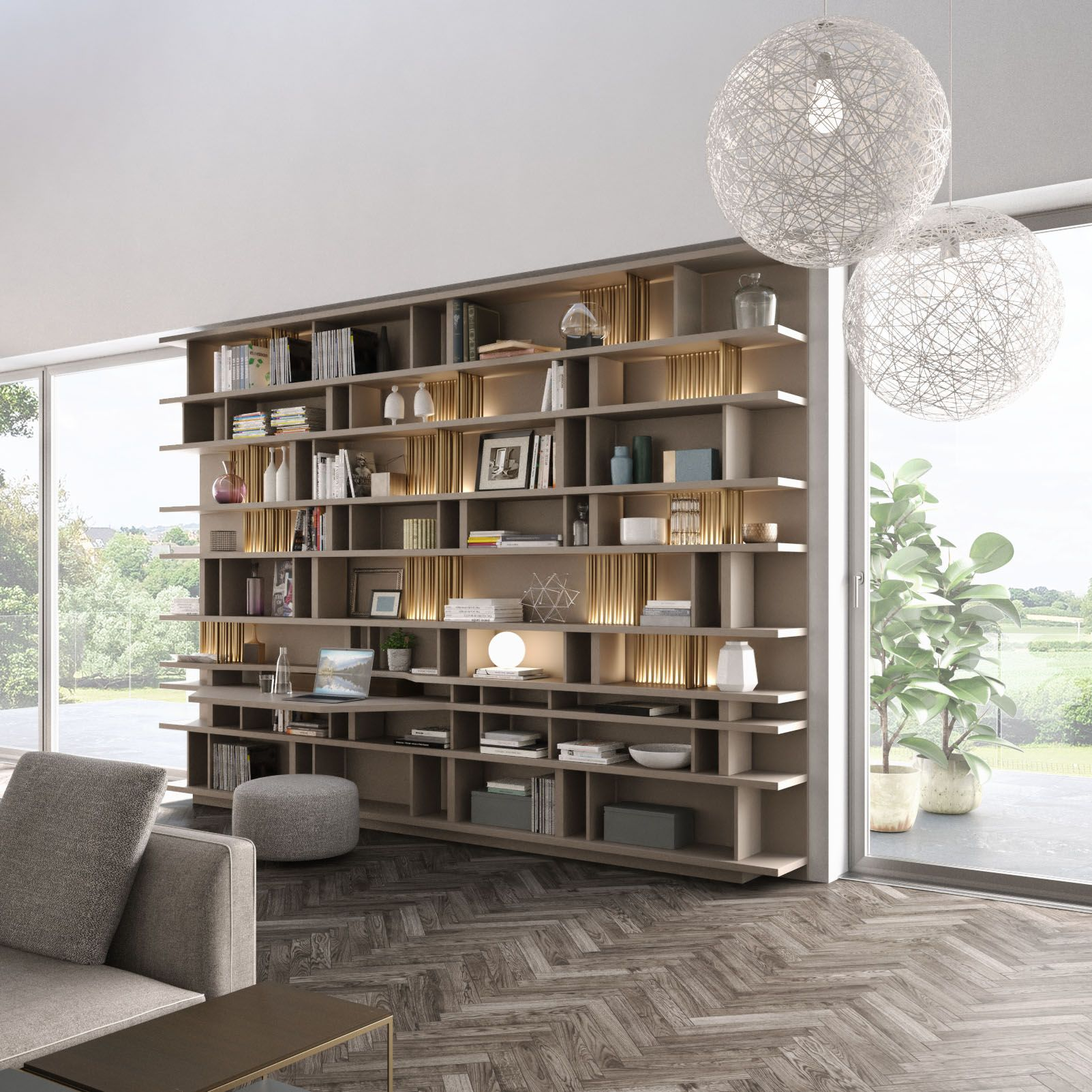 Libreria Room Divider Is A Highly Flexible Wall Mounted Open Shelf Library System Designed To Enhance Any Wall Storage Cabinets Wall Storage Modern Shelving
