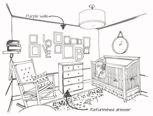 #Nursery concept #sketch for my best friends little girl! #residentialdesign #purple