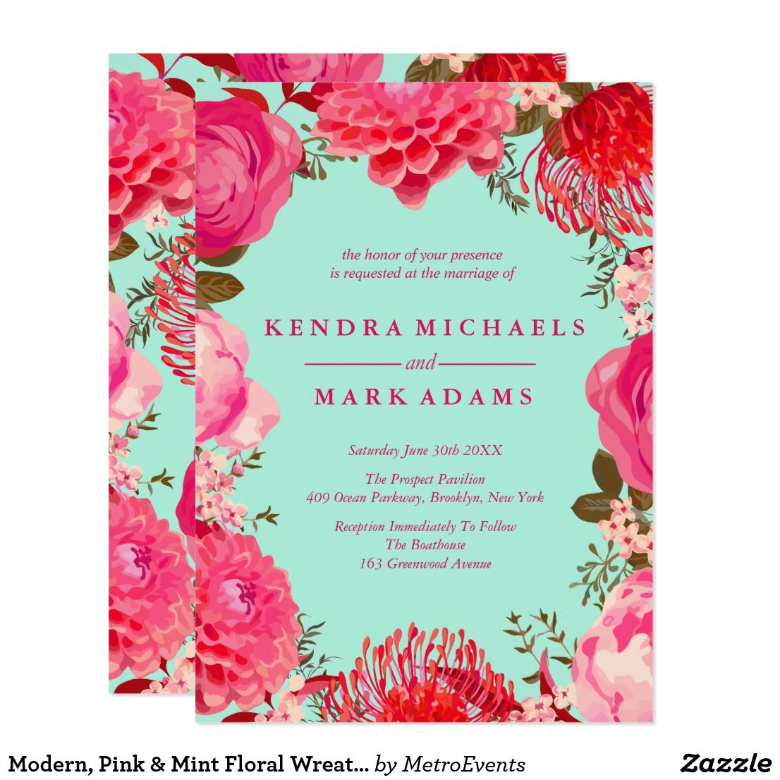 Modern Pink Mint Floral Wreath Invitations Wedding Designs
