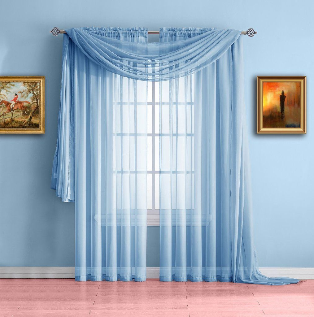 Warm Home Designs Pair Of Baby Blue Sheer Curtains Or Extra Long