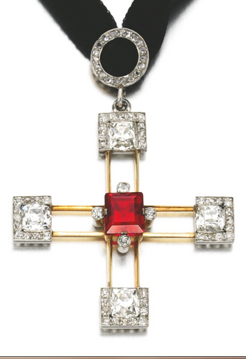 Spinel and diamond cross pendant, late 19th century. Designed as a cross set at the centre with a step-cut spinel, accented with cushion and single-cut diamonds, Russian marks. #antique #cross #pendant