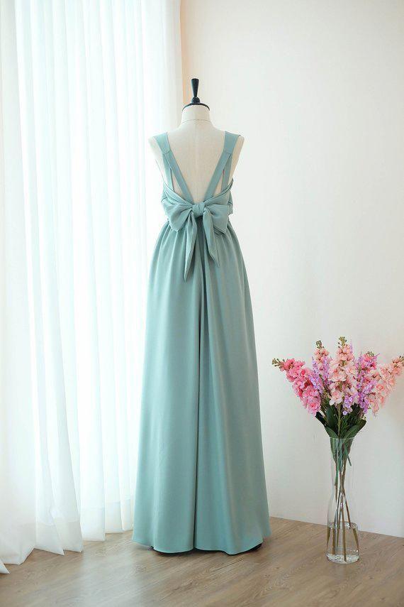 Dusty sage green dress Floor length pale sage green bridesmaid #weddingcocktaildress #sagegreendress