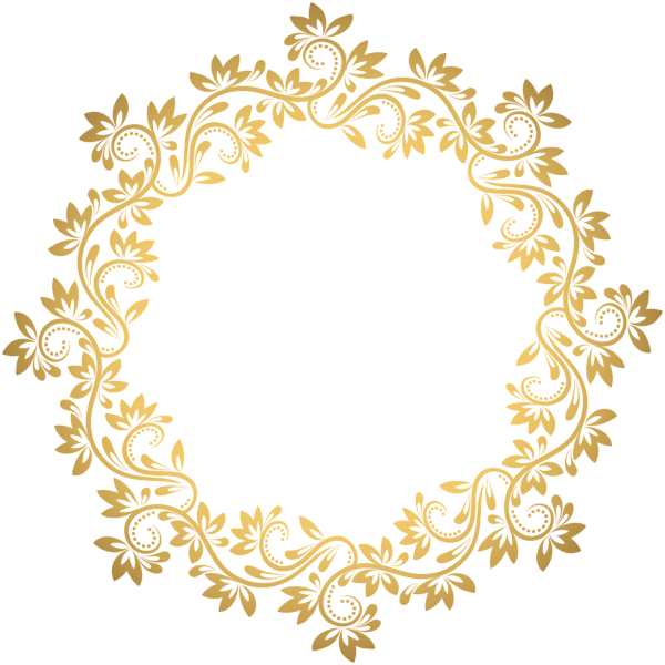 Valentinegoldframe Png 684 691: Gold Deco Round Border PNG Transparent Clip Art