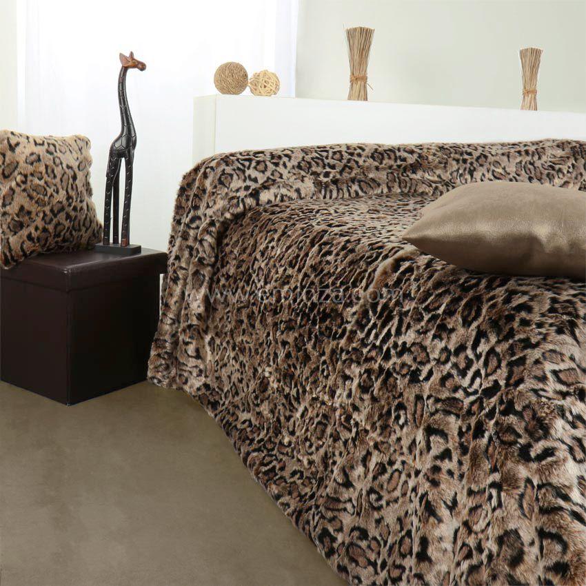 couvre lit 200 x 200 Couvre lit (150 x 200 cm) imitation fourrure Léopard couvre lit 200 x 200