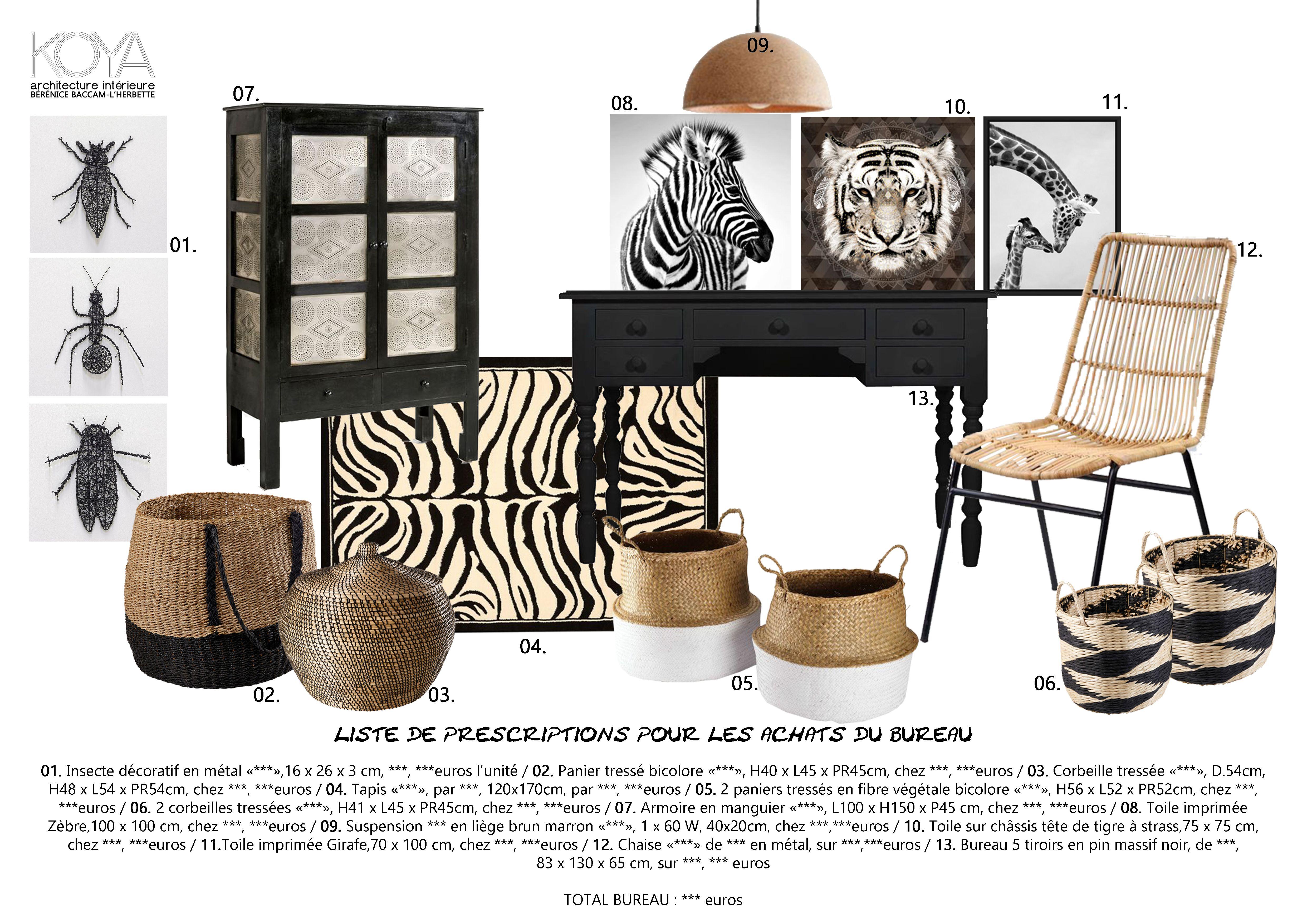 liste d 39 achats planche shopping pour un bureau la d coration ethnique chic bureaux de koya. Black Bedroom Furniture Sets. Home Design Ideas