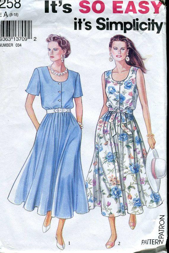 Simplicity 8258 Vintage 90s Dress Pattern Uncut 90s Dress Dresses Dress Pattern