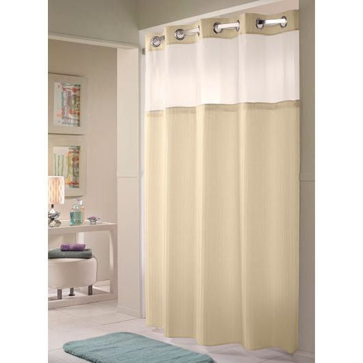 Hookless Hbh53dtb01cr White Double H Shower Curtain With Chrome