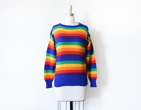 Vintage Rainbow Sweater 70s Striped By RustBeltThreads