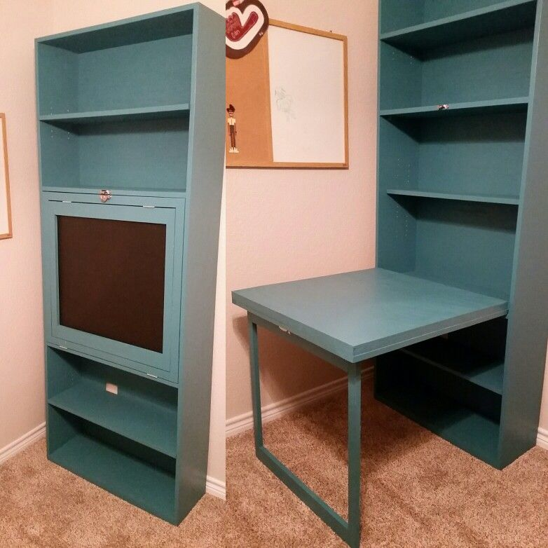 Murphy Desk And Bookcase With Chalk Board Picture Frame Diy Apartment Furniture Bookcase Diy Craft Room Desk