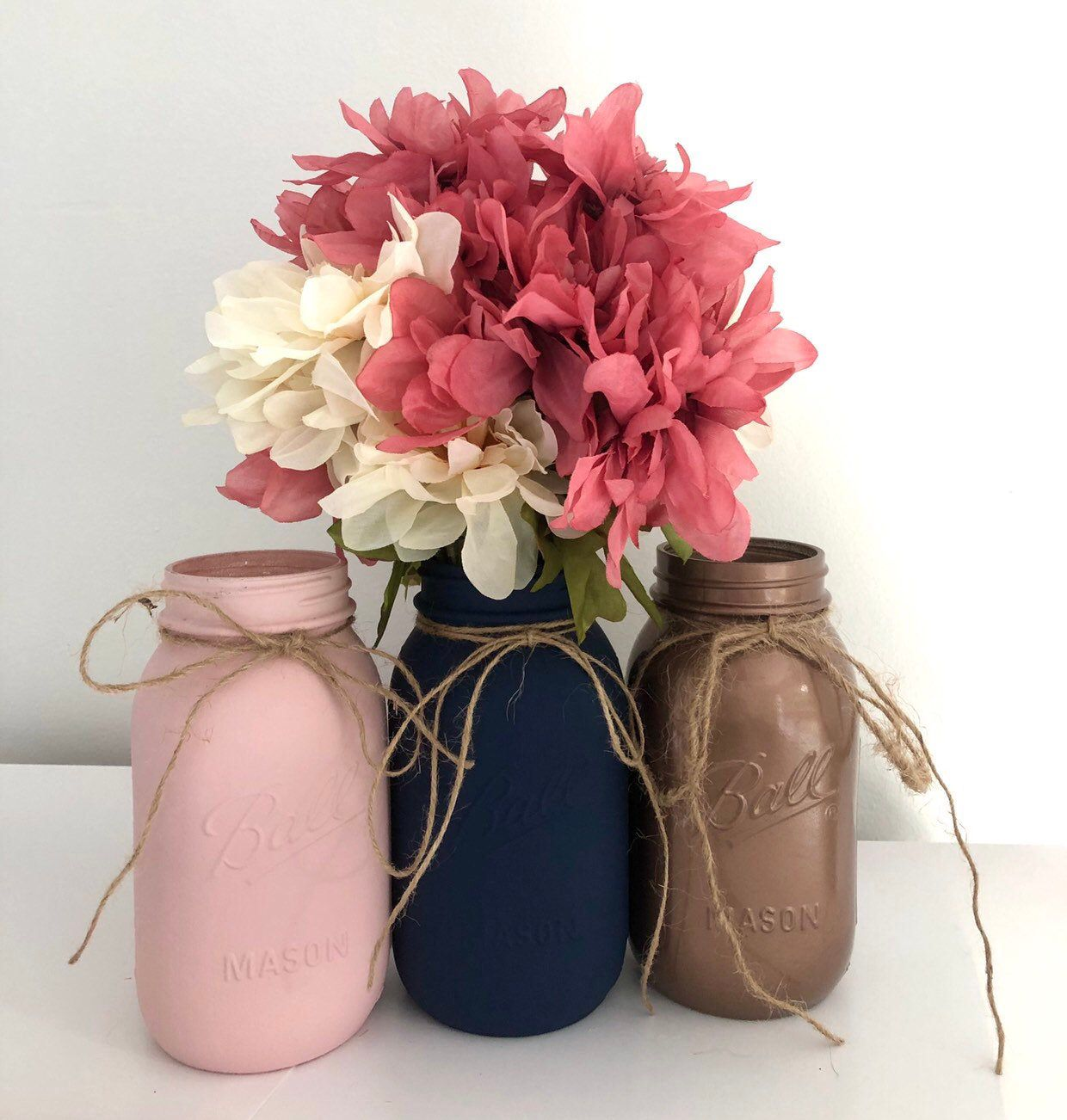 3 Ombré Navy Blue, Blush Pink And Rose Gold Mason Jar
