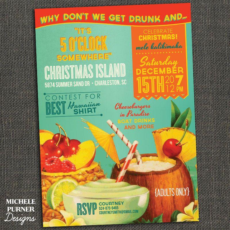 Tropical Christmas Party Invitation - Jimmy Buffett - mele ...