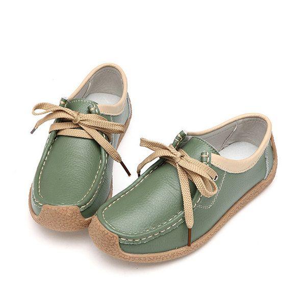 Dentelle Cuir Haut Casual Chaussures Plates Souples 5ge0XV