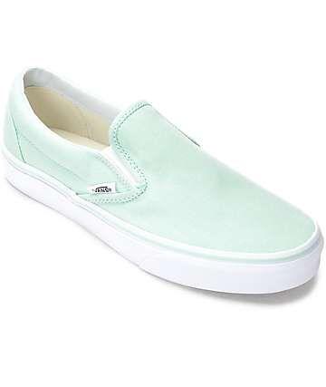 Vans Slip-On Bay & White Canvas Shoes