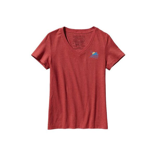 Women's Patagonia Coastal Range Cotton/Poly T-Shirt - Sumac Red Short... ($29) ❤ liked on Polyvore featuring red and patagonia