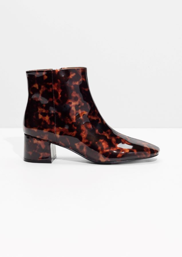 Patent Leather Ankle Boots in Tortoise